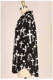 PQ-Q (Cross My Heart)  Black Tunic W/ Cross Print Detail EXTENDED PLUS SIZE 1X 2X 3X 4X 5X 6X
