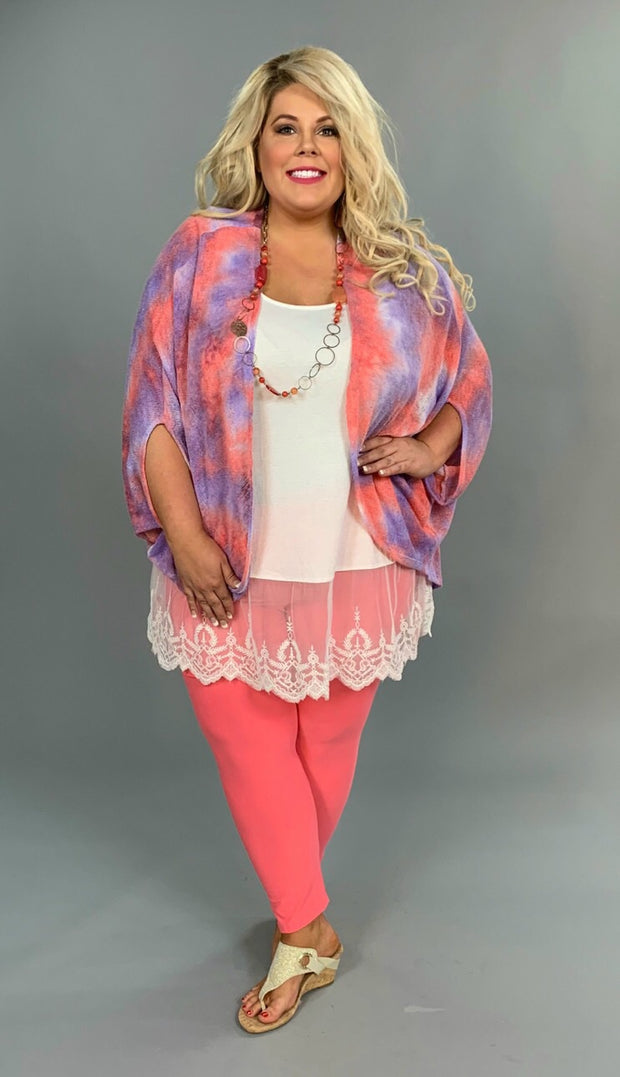 OT-T {Sassy Chic} Lavender/Pink Summer Knit Kimono Top FLASH SALE!!