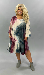 PQ-Y {Lost Without You} Burgundy Blue Tan Tie Dye Dress BUTTER SOFT EXTENDED PLUS SIZE 4X 5X 6X
