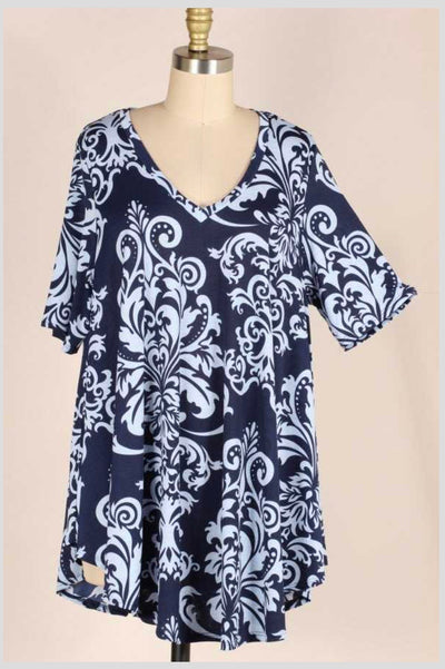 PSS-W {I'm Used To Blue} Navy/Lt. Gray Damask Print Tunic EXTENDED PLUS SIZE 3X 4X 5X
