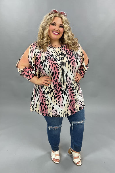 62 PQ-S {Pure Passion} Cream/Multi Animal Open Sleeve Tunic CURVY BRAND EXTENDED PLUS SIZE 3X 4X 5X 6X