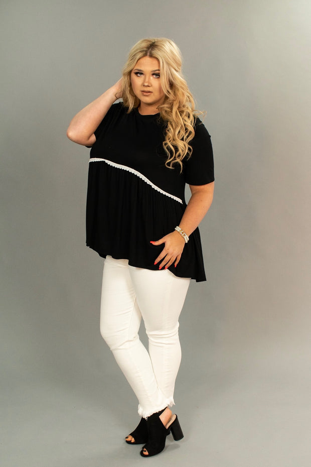 SD-M {Midnight Magic} Black Tunic with Crochet Lace Detail PLUS SIZE 1X 2X 3X
