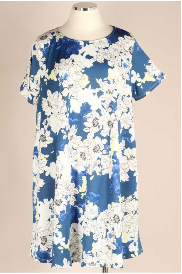 61 LD-O {Beauty in Bloom} Blue & White Floral Dress EXTENDED PLUS 3X 4X 5X