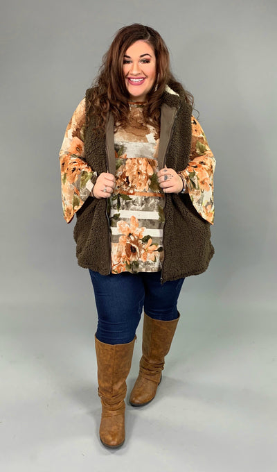 OT-E {Time To Think} Brown Cozy Sherpa Vest with Hood SALE!