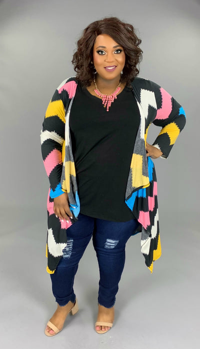 OT-X {Change In The Air} Black/Pastel Print Duster Cardigan PLUS SIZE 1X 2X 3X