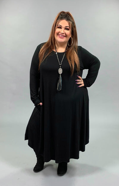 LD-W {Curves Ahead} Solid Black Midi Dress with Side Pockets