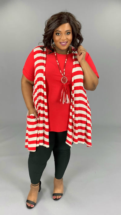 OT-A/Z (Say Anything) Red And Ivory Striped Vest W/ Pockets EXTENDED PLUS 3X 4X 5X 6X