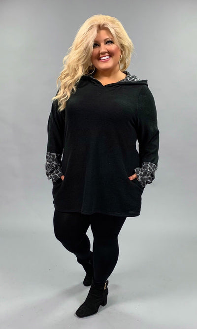 HD-H {Come Along} Black Hoodie with Gray Leopard Contrast Extended Plus
