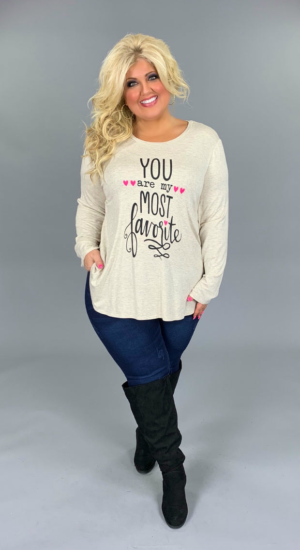 GT-J {You Are My Most Favorite} Oatmeal Long Sleeve Top  SALE!!