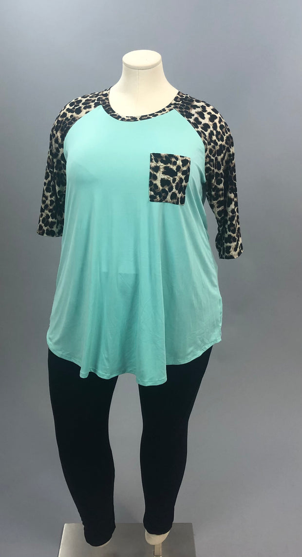 53 CP-D {Must Be Magic} Mint Tunic with Leopard Contrast Curvy Brand Extended Plus 3X 4X 5X 6X