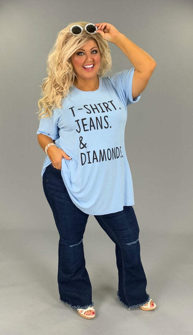 GT-Z {T-Shirt & Jeans} Blue T-Shirt, Diamonds Graphic Tee CURVY BRAND EXTENDED PLUS SIZE 3X 4X 5X 6X