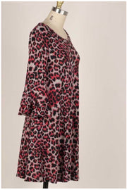 10-01 PQ-S {Such A Diva} Red Black Leopard Dress PLUS SIZE XL 2X 3X