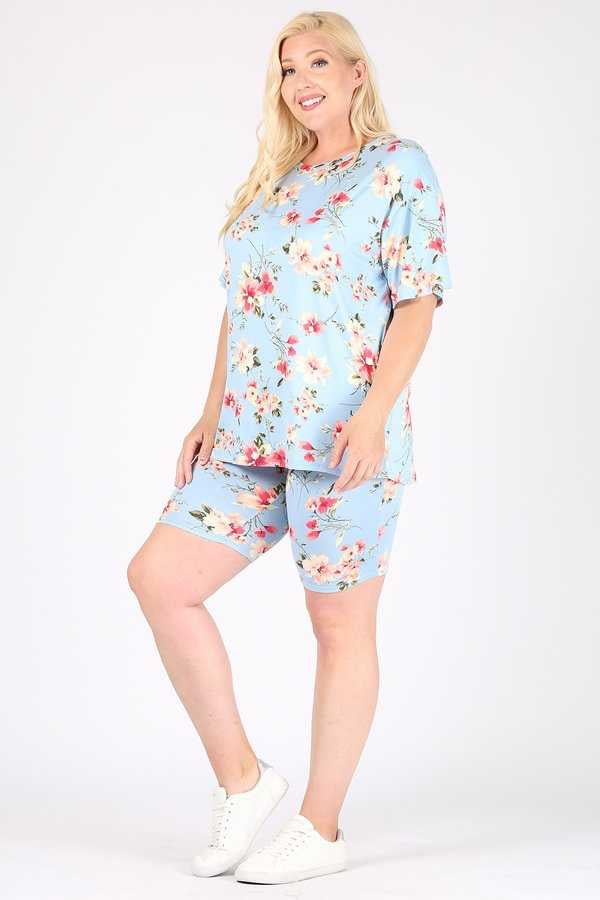 SET-D {Garden Tea Party} Light Blue Floral Lounge Set EXTENDED PLUS SIZE 3X 4X 5X SALE!!