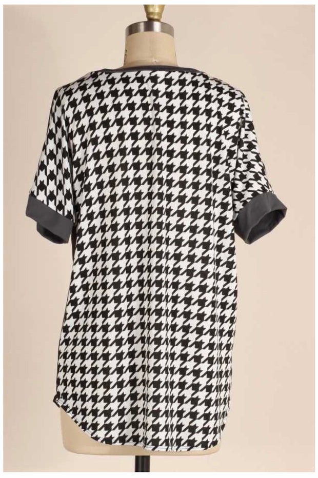 CP-B {Keep It Up} Black & White Houndstooth Contrast Tunic PLUS SIZE 1X 2X 3X