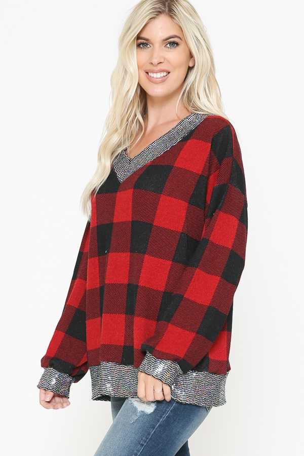 32 CP-G {Holiday Party}  SALE!! Red Plaid Sequin Detail Knit Tunic PLUS SIZE XL 2X 3X