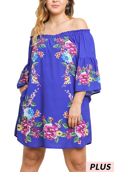 OS-B{Island Vibes} Royal Blue/Floral Dress PLUS SIZE XL 1X 2X