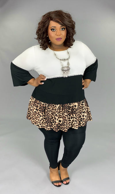 CP-O (Running Wild) White/Black Leopard Contrast Top EXTENDED PLUS SIZE 3X 4X 5X 6X