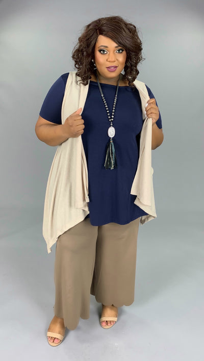OT-J {Relaxed & Cozy} Asymmetrical Beige Soft Knit Vest PLUS SIZE 1X 2X 3X