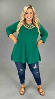 SQ-S {California Dreaming} Forest Green Cage Neck Top