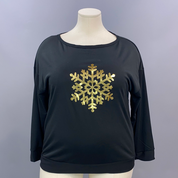 35 GT-A {Snow Unique} SALE!!  Black Gold Snowflake Top PLUS SIZE XL 2X 3X