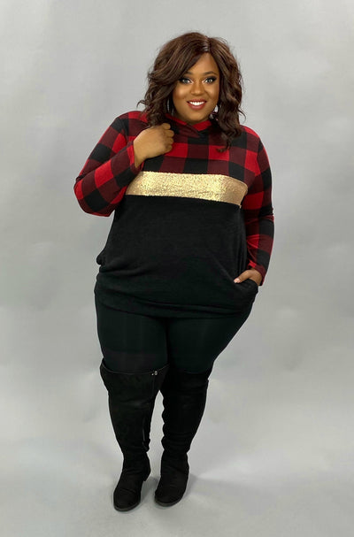 21 HD-G {Meet You There} SALE!!  Red Black Plaid Contrast Hoodie PLUS SIZE XL 2X 3X