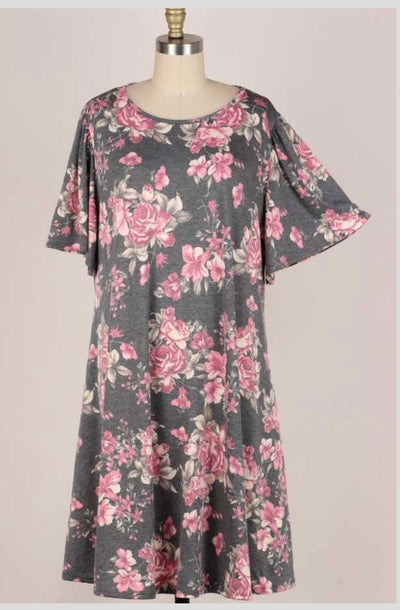 62 PSS-A {Way Back Home} Gray/Pink Floral Print Dress EXTENDED PLUS SIZE 3X 4X 5X