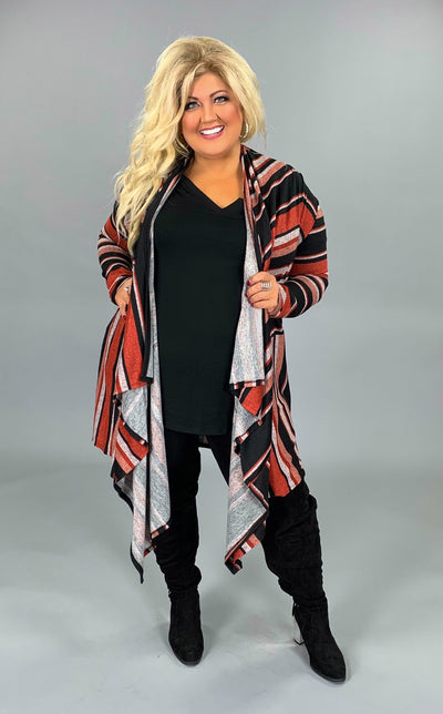 OT-T {High Hopes} Rust/Black Striped Long Sleeve Cardigan