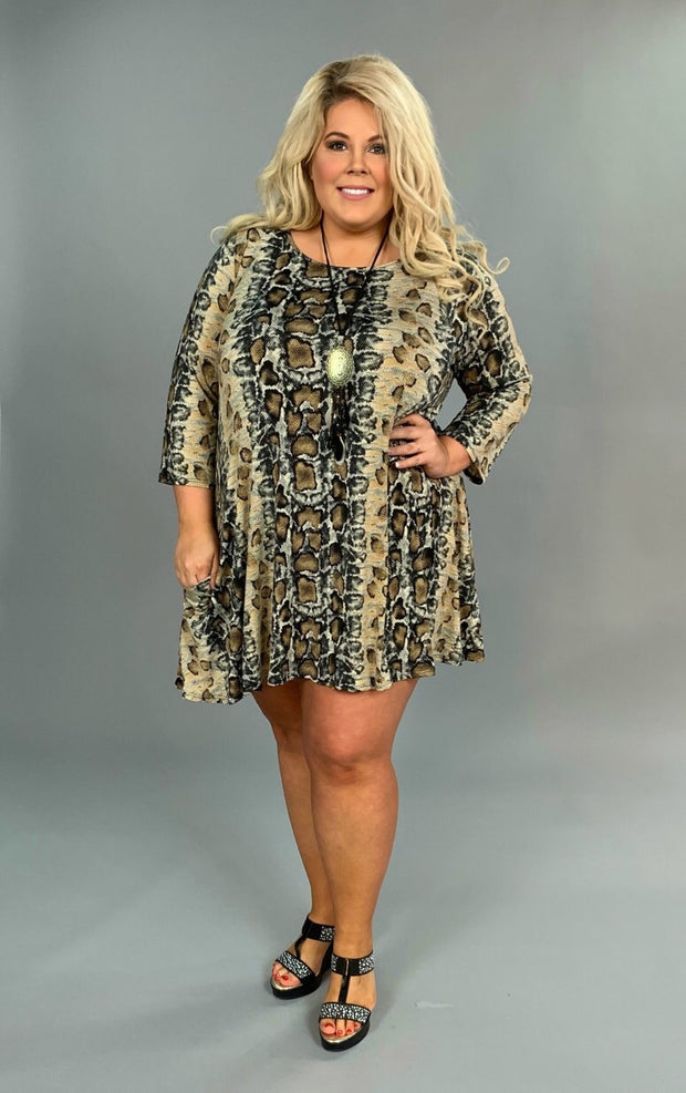 PQ-Z {Time To Escape} Snakeskin Print Dress with Pockets