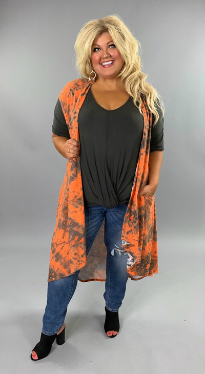 OT-P {All Too Well} Orange/Charcoal Tie-Dye Vest Pockets