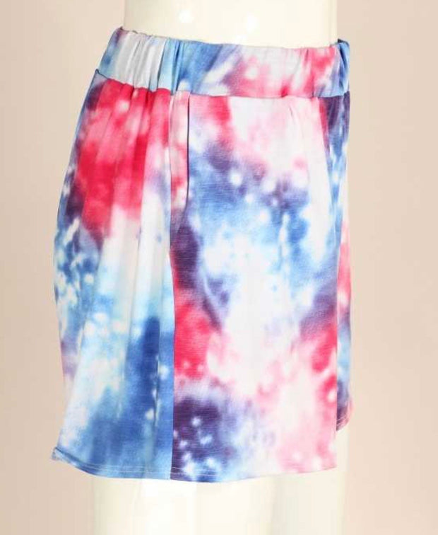 BT-G {Flare For Dramatic} Blue Pink Tie Dye Lounge Shorts PLUS SIZE 1X 2X 3X SALE!!