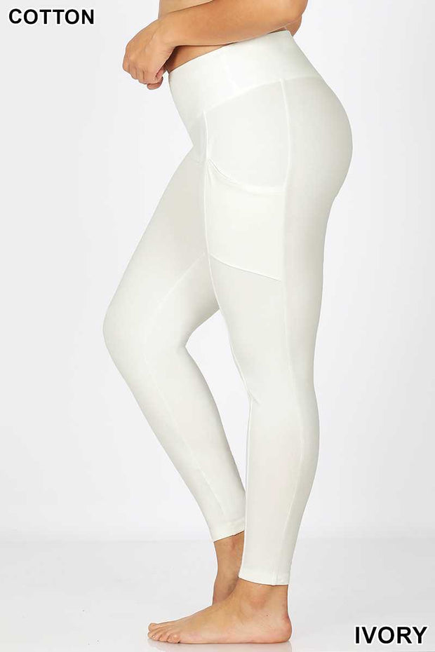 LEG-J {Work It} Ivory Wide Waistband Full Length Leggings PLUS SIZE 1X 2X 3X