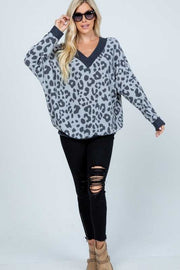OS-K {So They Say} Charcoal Lt. Grey Leopard Knit Top PLUS SIZE XL 2X 3X