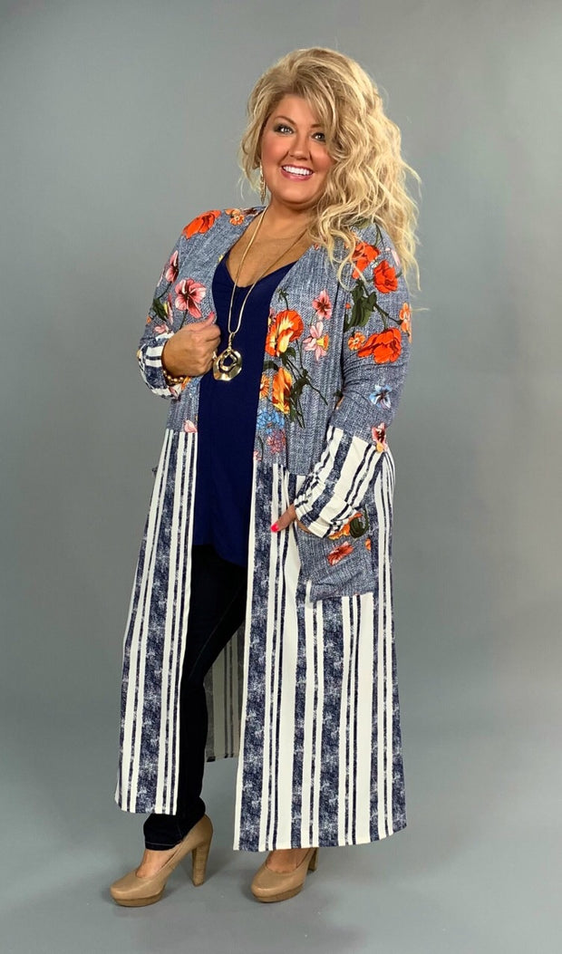 OT-G {Take A Chance} Navy Contrast Striped Floral Print Cardigan