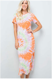 LD-N {Always Happy}  SALE!! Orange, Lime, & Pink Tie Dye Maxi Dress PLUS SIZE 1X 2X 3X SALE!!