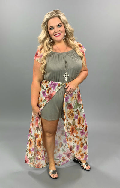 RP-C {Sheer Goddess} Olive Romper Sheer Tan Floral Overlay PLUS SIZE 1X 2X 3X