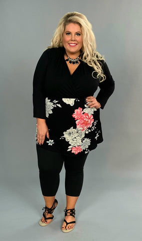 CP-L {Beauty Guru} Black/Pink Floral Contrast Tunic