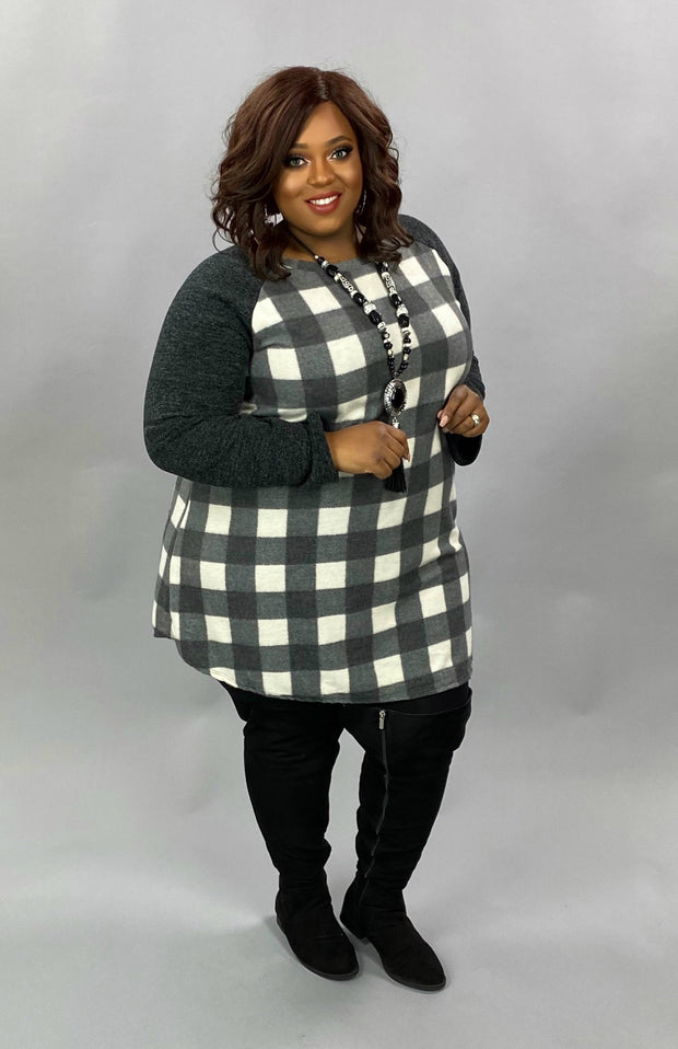 10-15 CP-H {Back For You} Grey & White Plaid Contrast Tunic EXTENDED PLUS SIZE 3X 4X 5X