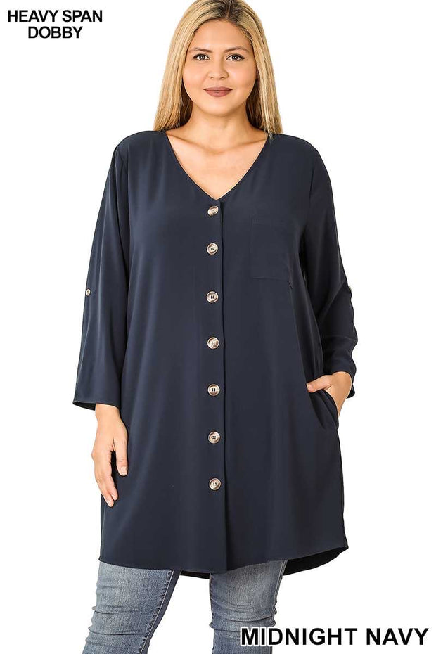 50 SQ-B (Stepping Out) Navy Button Up Dress 1X 2X 3X Plus Size