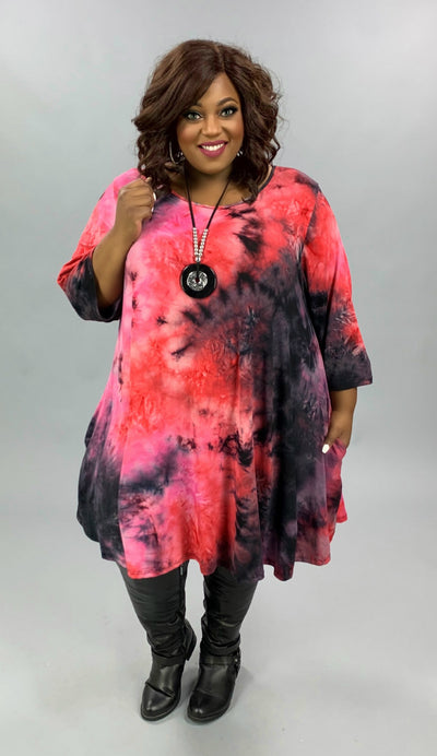 PQ-Z {All Or Nothing} Pink Red Purple Tie Dye Dress BUTTER SOFT EXTENDED PLUS SIZE 4X 5X 6X