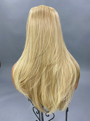 {Samantha} Blonde Brown Streak Long Straight Wig