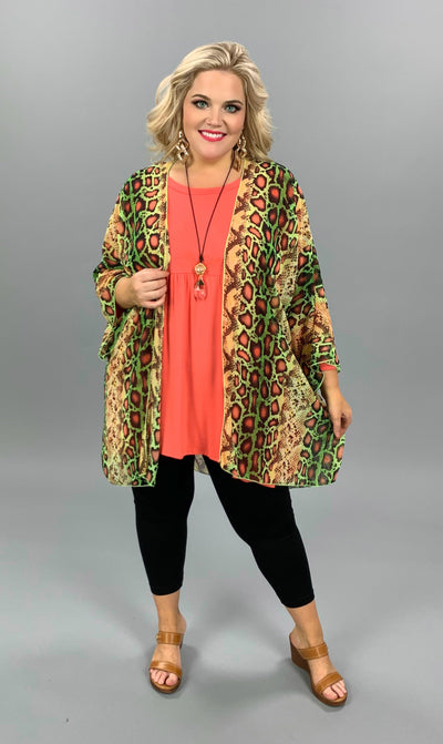 OT-C {Slither & Lime} Lime/Yellow Sheer Snakeskin Cardigan PLUS SIZE 1X 2X 3X