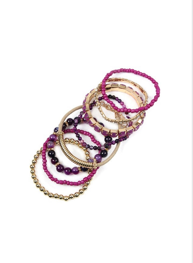 BCE- {Stacked Against You} 6 Pc. Stackable Bracelet Sets