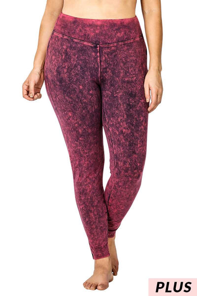 LEG-15 [Cool Touch} Dk. Plum Mineral Wash Leggings  PLUS SIZE 1X 2X 3X