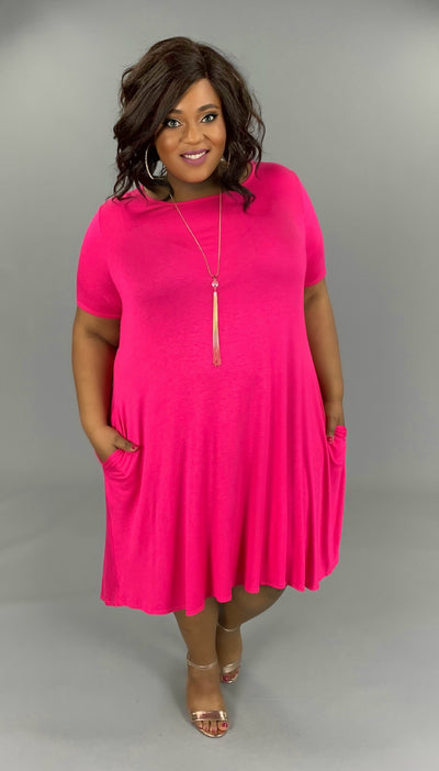 SSS-X{Set For Style}Pink Dress W/Pockets EXTENDED PLUS SIZE 3X 4X 5X