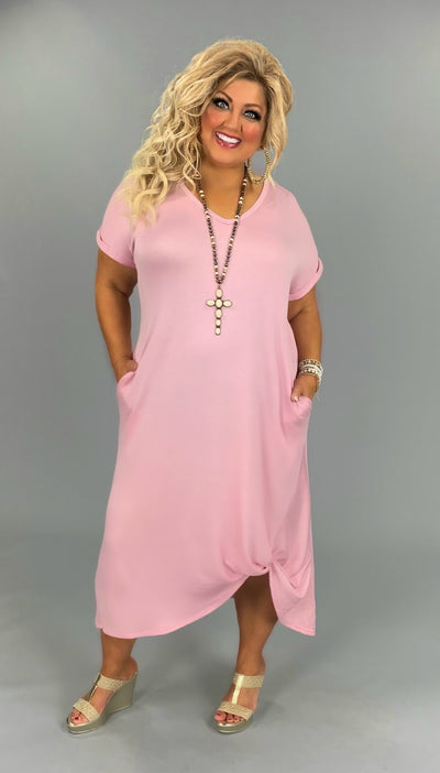 LD-X {All Knotted Up} Mauve Maxi Dress with Gathered Hem PLUS SIZE 1X 2X 3X