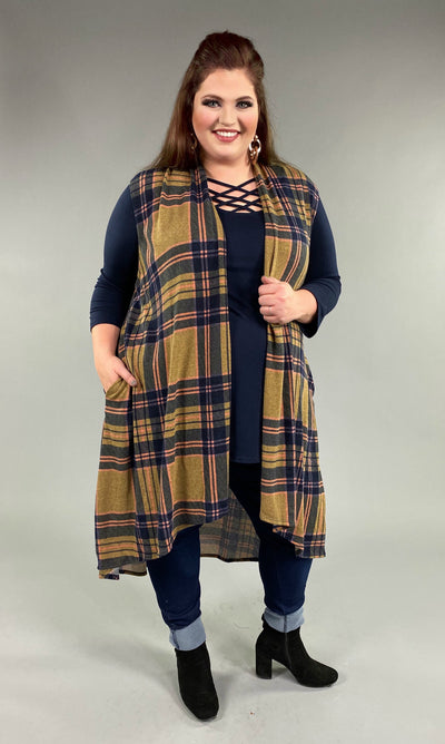 OT-B {On A Mission} Taupe/Navy Plaid Hi Lo Knit Vest  PLUS SIZE SALE!! 1X 2X 3X