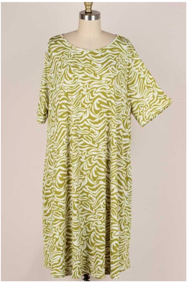 53 PSS-H {Spring Wishes}  Light Green Damask Print Dress Extended Plus Size 3X 4X 5X