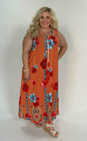 LD-C {Jazzy Spirit} Orange Sleeveless Floral Maxi Dress Extended Plus
