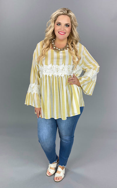 CP-M {Joyful Noise} Yellow Ivory Stripe Tunic W/Crochet PLUS SIZE XL 1X 2X SALE!!