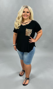 51 CP-L {One Number Away}  Black w Leopard Detail Plus Size XL 2X 3X